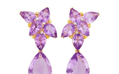 Pair of Gold, Amethyst and Diamond Pendant-Earclips