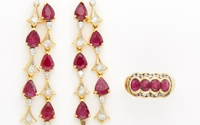 Pair of Gold, Ruby and Diamond Earrings and Ring