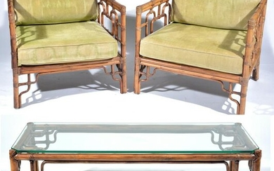 Pair of McGuire Armchairs with matching Coffee table.
