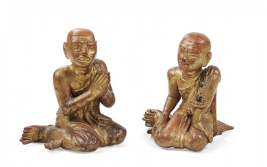 Pair of lacquered and gilt-wooden kneeling figures Burma, early 20th Century