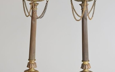 Pair of torches (2) - Napoleon III - Bronze (patinated) - 19th century