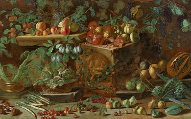 Pietro Paolo Bonzi - Large Still Life with Fruit and Vegetables