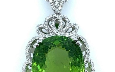 Platinum Paraiba Tourmaline and Diamond Pendant