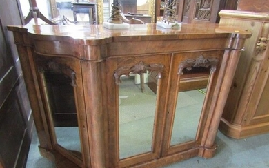 QUALITY VICTORIAN CREDENZA, a figured walnut veneered shaped...