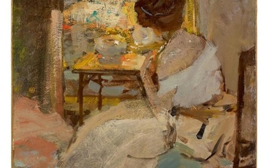 RICHARD EDWARD MILLER | WOMAN IN A WHITE DRESS (LADY IN A WHITE EVENING GOWN)