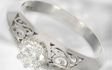 Ring: interesting white gold solitaire/brilliant ring, ca. 0,47ct,...