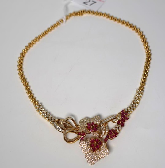Ruby and diamond set 18ct yellow gold necklace of flower for...
