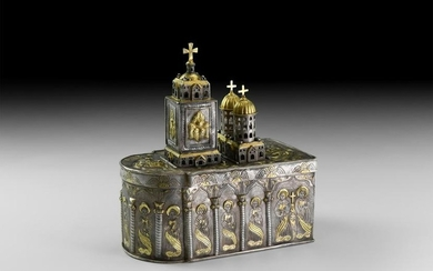 Russian Gilt Silver Reliquary Box, Romanov Eagle