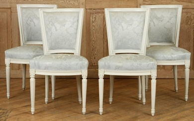 SET 4 CARVED LOUIS XVI STYLE SIDE CHAIRS C.1910