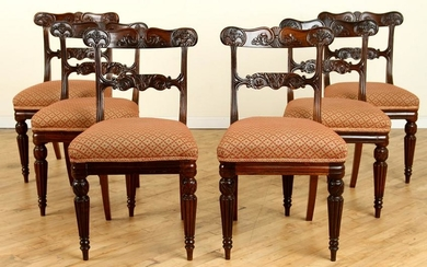 SET 6 REGENCY MAHOGANY DINING CHAIRS CARVED