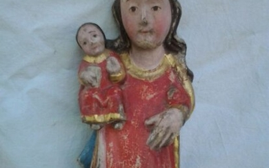 Sculpture, Virgin and child - Wood - 18th century