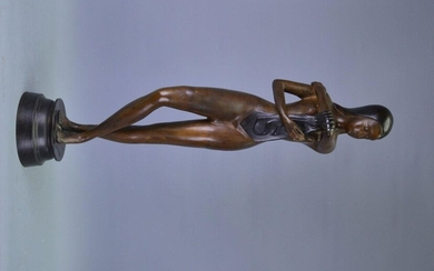 """Sculpture of a woman in zamak, """"woman with..."""
