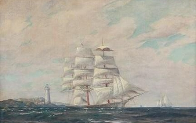 Signed Clipper Ship, Lighthouse, Maritime Oil Painting