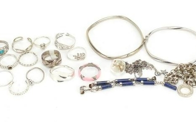 Silver and white metal jewellery including necklaces