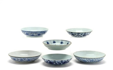 Six Chinese Blue and White Porcelain Bowls