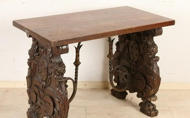 Spanish-style historicism side table with wrought iron