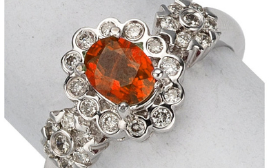 Spinel, Diamond, White Gold Ring The ring features an...