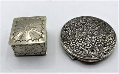 Sterling Silver Fancy Round Compact & Sterling Pin Box