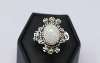 Sterling Silver Navajo Opal Ring.