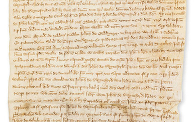 Suffolk, Burgate.- Agreement between John de Swyneford, John de Whelnetham & Walter Oliver of a tenement in Burgate, manuscript in Latin, on vellum, indented chirograph at head, 1318.