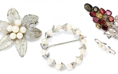 THREE PEARL AND GEMSET BROOCHES; silver bunch of grape design brooch set with oval cut zircons, garnets and tourmalines, and two pla...