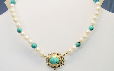 TURQUOISE - PEARL NECKLACE UNIQUE YELLOW GOLD 8 CARAT.