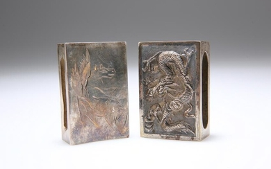 TWO CHINESE SILVER MATCHBOX SLEEVES, the first engraved