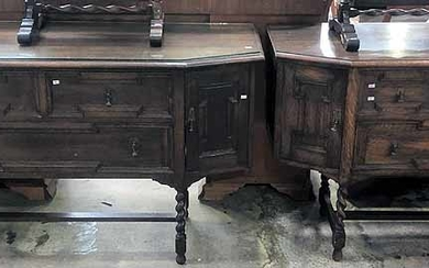 TWO OAK JACOBEAN STYLE SIDEBOARDS