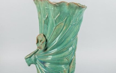 Tall Chinese Green Glazed Lotus Vase