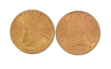 Two 10 US dollar gold coins