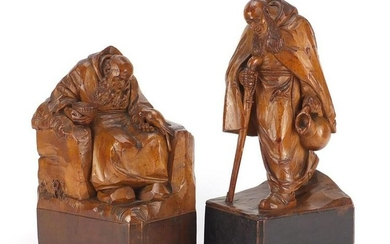 Two 19th century continental wood carvings of monks,