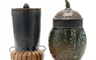 Two Covered and Footed Studio Pottery Vases
