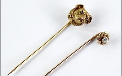 Two Diamond & 14 Karat Yellow Gold Stick Pins.