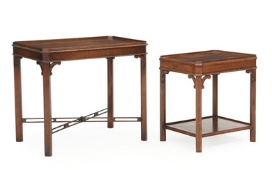 Two George III style mahogany occasional tables. England, last half of the 20th century. H. 55 cm. W. 49 cm. D. 40 cm. / H. 64 cm. W. 73 cm. D. 49 cm. (2).