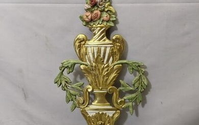 Vintage Painted Brass 4 Candle Wall Sconce