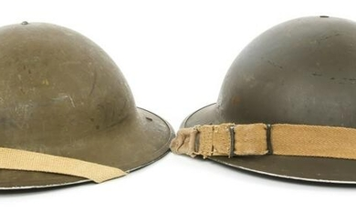 WWII CANADIAN MK I BRODIE COMBAT HELMETS LOT OF 2