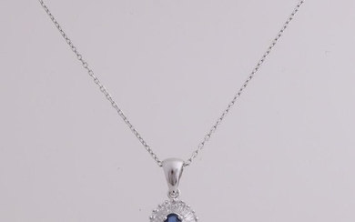 White gold necklace and pendant, 750/000, sapphire and