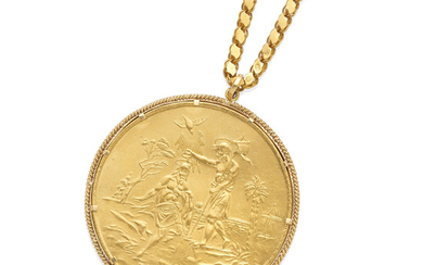 a russian baptismal medallion on a long gold chain