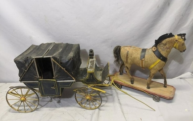 c1900 French Metal & Leather Horse Drawn Carriage w/