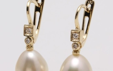 no reserve - 14 kt. Yellow Gold- 10x11mm Champagne Golden South Sea Pearls - Earrings - 0.07 ct
