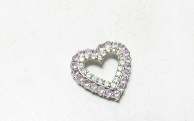 1.10cts Heart Shaped Amethyst & White Topaz 10kt Gold