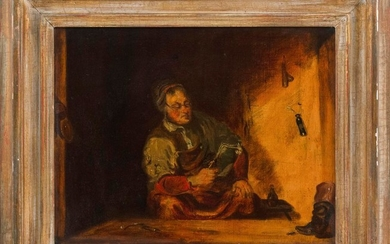 ATTRIBUTED TO FRANCIS WILLIAM EDMONDS, New York, 1806-1863, Interior scene with a cobbler., Oil on canvas laid down on masonite, 10....
