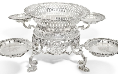 A GEORGE II SILVER TABLE EPERGNE, ELIZABETH GODFREY, LONDON, 1755