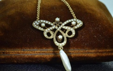 14 KT Yellow Gold Seed Pearl Necklace