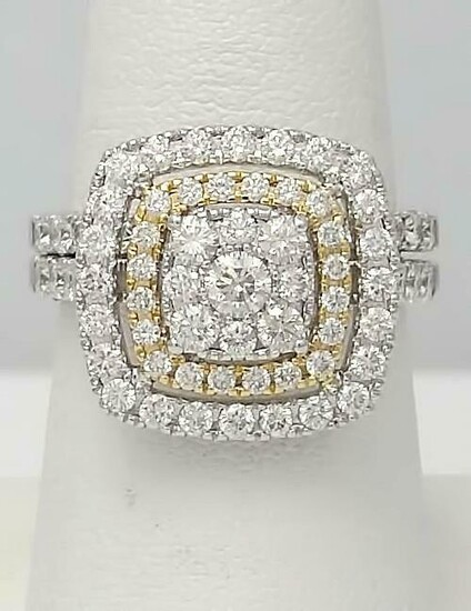 14k TWO TONE GOLD 2.00ct ROUND DIAMOND PAVE DOUBLE HALO