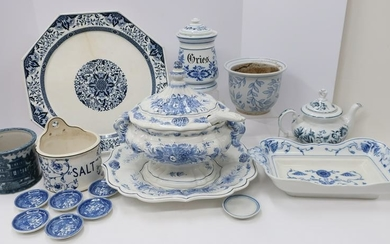 17 Assorted Blue and White Serving Porcelain