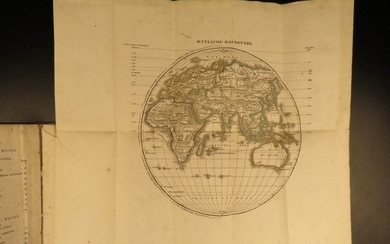 1843 Folding Color German World Maps Europe Americas