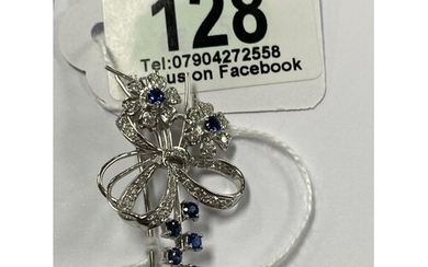 18CT WHITE GOLD BROOCH WITH 12 SAPPHIRES & 29 DIAMONDS 8G