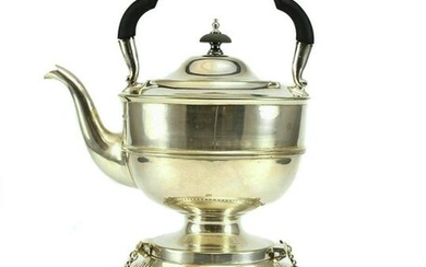 19th C. Silver Plated Teapot On Stand by Walker & Hall