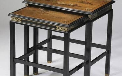 (2) Chinoiserie style hand painted nesting tables
